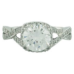 Tacori 1.50 Carat GIA Certified Round Diamond 18 Karat Gold Engagement Ring
