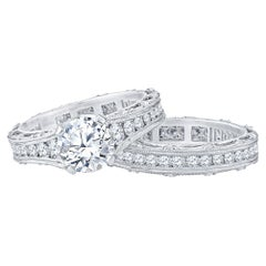 Tacori 1.53 Carat GIA Round Diamond Platinum Ring and Wedding Band, Set
