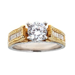Tacori 18 Karat Two-Tone Gold and Diamond Engagement Ring