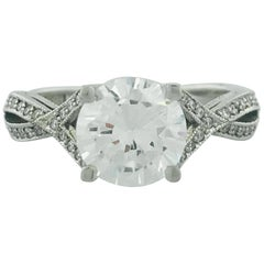 Tacori 18 Karat White Gold 1.50 Carat EGL Certified Round RBC Diamond Ring
