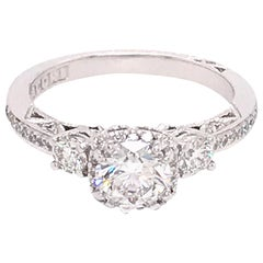 Tacori 18 Karat White Gold GIA Certified Diamond Engagement Ring