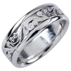 Tacori 18 Karat White Gold Polished Milgrain Floral Scroll Wedding Band