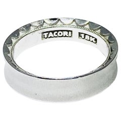Tacori 18k Men's White Gold Tacori Crescent Matte Wedding Band, Man's Tacori 18k