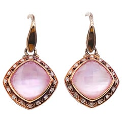 Tacori 18k925 Blushing Rose Amethyst & Mother of Pearl Diamond Earrings 18K Gold