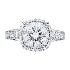 Tacori 2.01ct Round K SI2 Diamond Plat Engagement Ring, 0.99ctw Diamond Accents