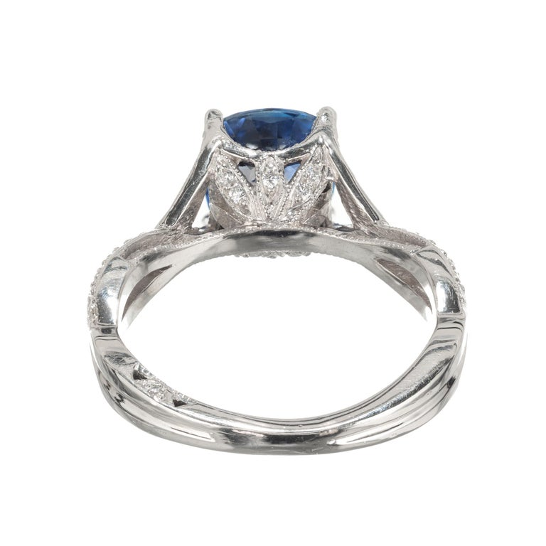 Tacori 2.07 Carat GIA Certified Sapphire Diamond Platinum Engagement Ring In Excellent Condition For Sale In Stamford, CT