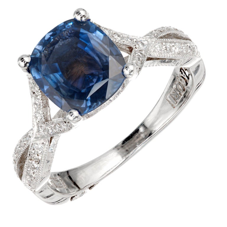 Tacori 2.07 Carat GIA Certified Sapphire Diamond Platinum Engagement Ring For Sale