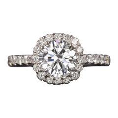 Tacori 2.25 Carat Round Brilliant Cut Diamond Halo White Gold Ring