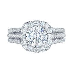 Tacori 2.50 Carat Round Brilliant Cut Halo Engagement Diamond Ring