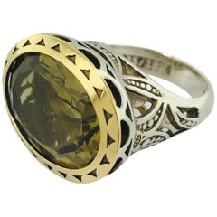 Tacori 25258, 15.5 Carat Olive Quartz Ring, Tacori 18 Karat 925 Collection