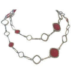 Original Rare Tacori Cascading Gem Necklace Featuring Clear Quartz over Red Onyx