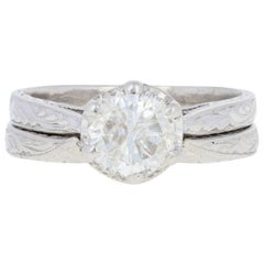 Tacori .94 Carat Round Brilliant Diamond Ring and Wedding Band Platinum Set