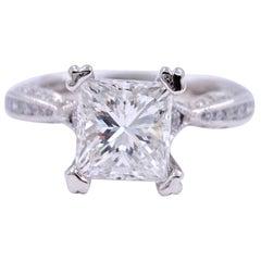 Tacori Crescent Princess Diamond 1.81 Carat 18 Karat White Gold Ring GIA