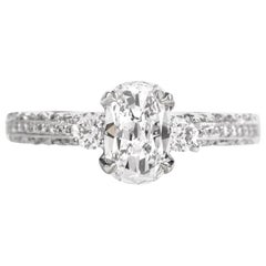 Tacori Cushion GIA Diamond Platinum Engagement Ring