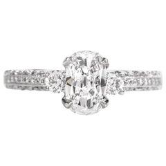 Tacori Cushion GIA Diamond Platinum Engagement Ring