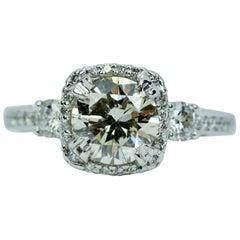 Tacori Dantela 18 Karat White Gold Round Diamond 1.15 Carat Center Halo Ring