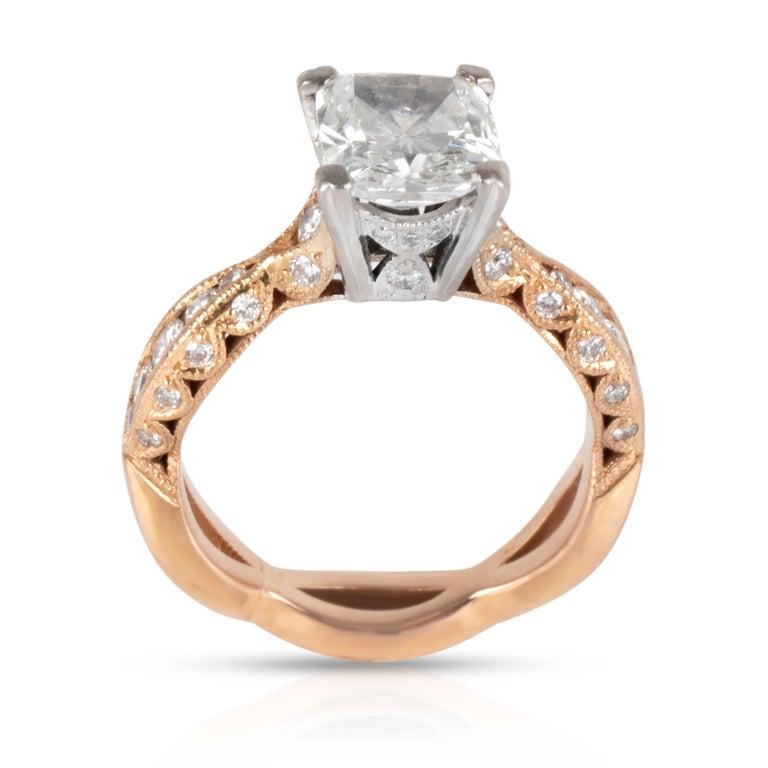 Art Deco Tacori Diamond Ring in 18 Karat Rose Gold GIA Certified G SI2 2.37 Carat