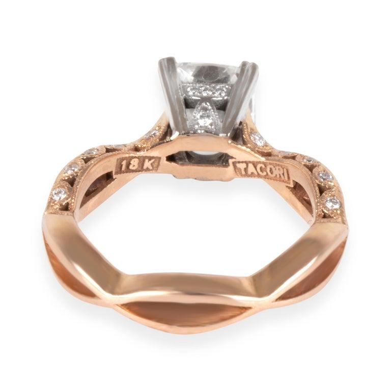 Cushion Cut Tacori Diamond Ring in 18 Karat Rose Gold GIA Certified G SI2 2.37 Carat