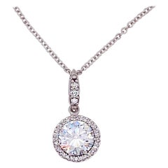 Tacori Diamond Halo Pendant 18 Karat White Gold Designer Necklace Chain