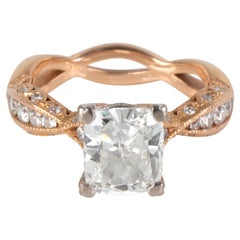 Tacori Diamond Ring in 18 Karat Rose Gold GIA Certified G SI2 2.37 Carat