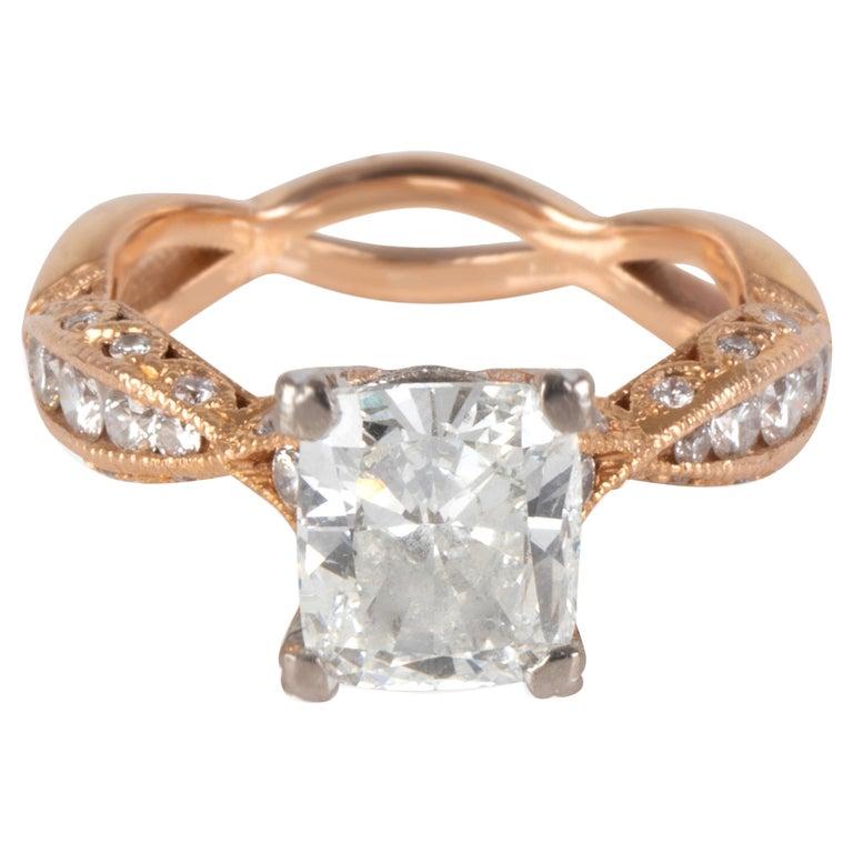 Tacori Diamond Ring in 18 Karat Rose Gold GIA Certified G SI2 2.37 Carat