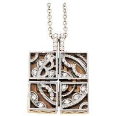Tacori Diamond Sectioned Square Pendant Necklace in 18 Karat White and Rose Gold