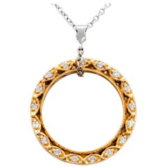 Tacori Estate White Diamond Circular Pendant Necklace in 18 Karat Yellow Gold