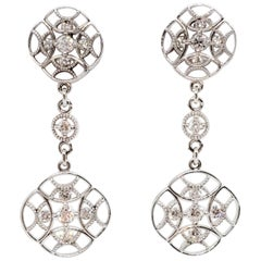 Tacori Estate White Diamond Dangle Earrings in 18 Karat White Gold