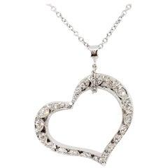 Tacori Estate White Diamond Heart Pendant Necklace in 18 Karat White Gold