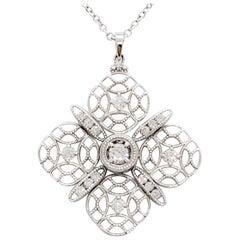 Tacori Estate White Diamond Pendant Necklace in 18 Karat White Gold