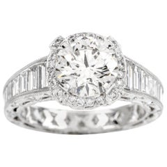 Tacori GIA 4.45 Carat Diamond Halo Baguette Eternity Platinum Engagement Ring
