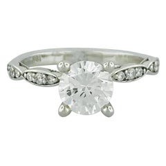 Tacori 1.00 Carat GIA Round Diamond in 18 Karat White Gold Engagement Ring