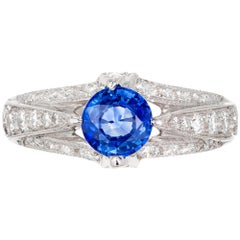 Tacori GIA Certified .93 Carat Sapphire Diamond Platinum Engagement Ring