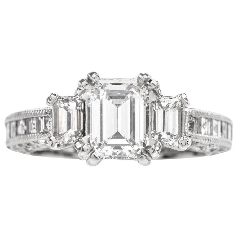Tacori Gia Diamond Emerald Cut Band Platinum Engagement Ring At 1stdibs