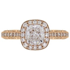 Tacori HT2550 GIA Certified 2.01 Carat Cushion Diamond Halo Engagement Ring