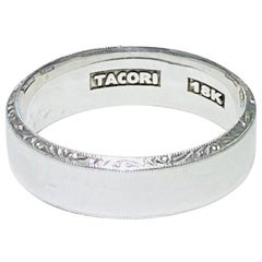 Tacori Men 18 Karat White Gold Wedding Band, Genuine Tacori Man's Band