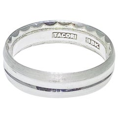 Tacori Men's 72-5S Band, Designer in 18 Karat White Gold Wedding Ring