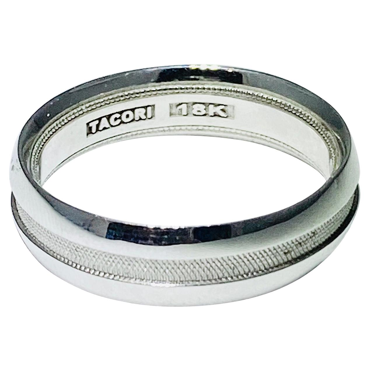 Tacori Men's Band 18 Karat White Gold Diamond Tacori Wedding Ring Band