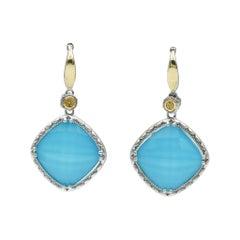 Tacori Neo-Turquoise Drop Earrings in Sterling Silver & 18K Gold, SE137Y05