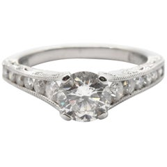 Tacori Platinum 1.68 Carat Round Brilliant Diamond Engagement Ring