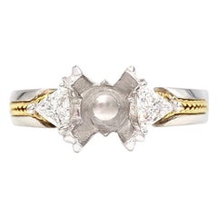 Tacori Platinum and 22 Karat Trillion Three-Stone Setting