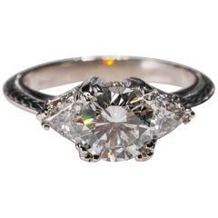 Tacori Platinum 2.98 Carat Diamond Vintage Style Engagement Ring Fine Jewelry