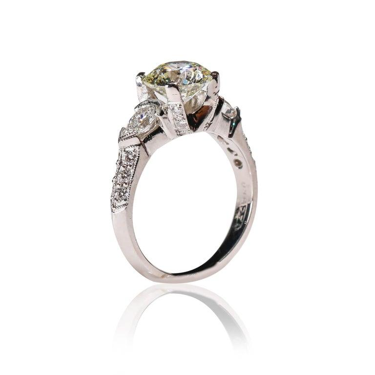 Romantic Tacori Platinum 3 Carat Round Pear Shape Diamond Wedding Ring For Sale