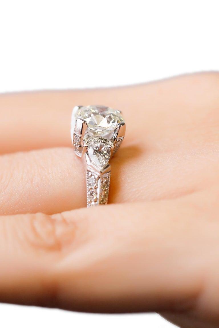 Women's Tacori Platinum 3 Carat Round Pear Shape Diamond Wedding Ring For Sale