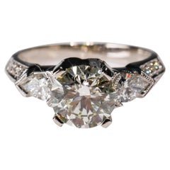 Tacori Platinum 3 Carat Round Pear Shape Diamond Wedding Ring
