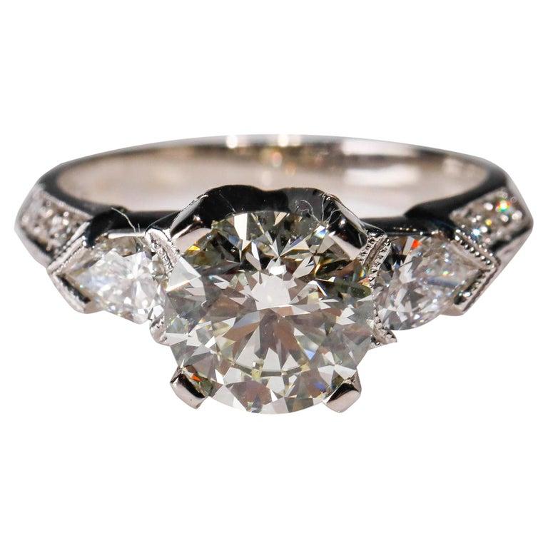 Tacori Platinum 3 Carat Round Pear Shape Diamond Wedding Ring For Sale