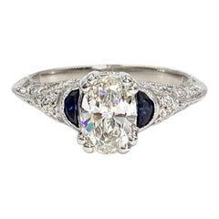 Tacori Platinum .85 Carat Oval Engagement Ring GIA Certified