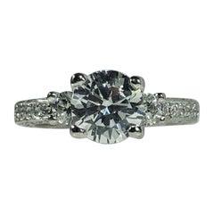Tacori Platinum and Diamond 3-Stone Design Engagement Ring