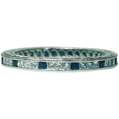 Tacori Platinum Princess Cut Diamond and Sapphire Eternity Band