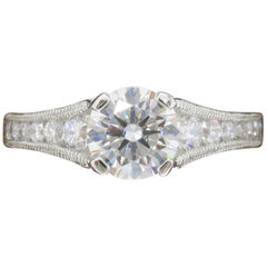 Tacori Platinum Reverse Crescent Certified Diamond Engagement Ring